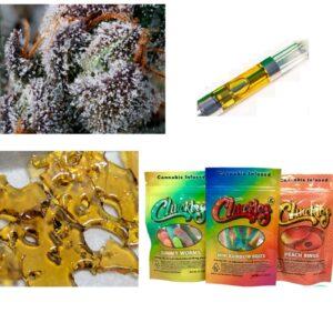 Za Za Express Combo – one g Shatter, one Cart, 1/8 oz of Topshelf Flower, one 500 mg Oreo Brownie